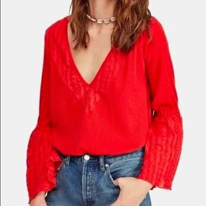 Free People   Eyelet Bell-Sleeved Too   Size XS